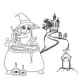 halloween witch preparing potion - doodle vector image