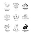 hand drawn farm logo set in doodle style vector image vector image