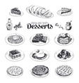 hand drawn sketch restaurant desserts set vector image