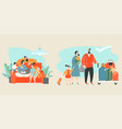 happy family buying tickets online vector image