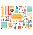 hygge interior elements doodle furniture and vector image