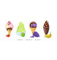 ice cream refreshing desserts set on white vector image
