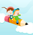 Kids On Pencil vector image vector image