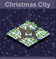 landscape snow covered isometric city vector image vector image