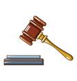 lifted judge gavel icon cartoon style vector image