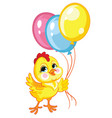 little cute funny yellow chicken with balloons vector image