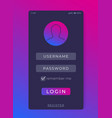 login sign in form mobile interface vector image
