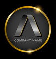 luxury letter a in golden circle for premium vector image
