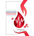 medical poster design for world blood donor day vector image