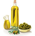 olives in a bowl and extra virgin olive oil vector image vector image