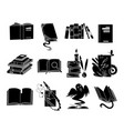 open books black silhouettes fairy tale book vector image vector image