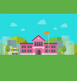 school building with urban landscape in background vector image
