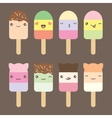 Set collection of cute kawaii style ice cream vector image vector image