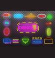set neon sign light at night transparent vector image