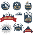 Set of adventure expedition mountain labels and vector image vector image
