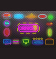 set of neon sign light at night transparent vector image