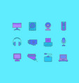 set simple line icons upgrading computer vector image vector image