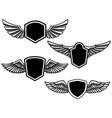 set winged emblems design element for poster vector image