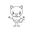 sketch silhouette caricature of cute cat happiness vector image vector image