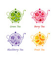 teapot sketch with fruit and berries tea for your vector image