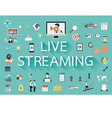The word LIVE STREAMING with long shadow surrounde vector image