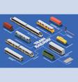 train railway isometric flowchart vector image vector image