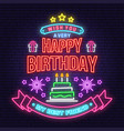 wish you a very happy birthday my best friend neon vector image vector image