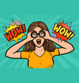 wow sexy surprised woman with open mouth looking vector image vector image