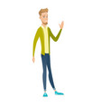 young caucasian businessman waving hand vector image