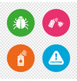 bug disinfection signs caution attention icon vector image