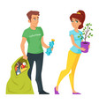 two characters volunteers man and woman vector image