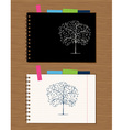 Notebook cover and page design on wooden backgroun vector image