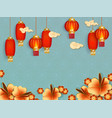 blue background with red chinese lanterns and vector image vector image