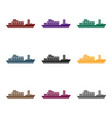 cargo ship icon in black style isolated on white vector image vector image