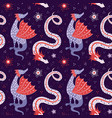 cartoon chinese dragon fairy tale seamless pattern vector image