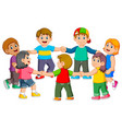 children are holding to each other vector image vector image