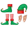 christmas elf hat shoes and ears vector image