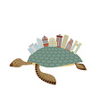 City on turtle Building on animal reptiles vector image