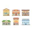 city public buildings facades set market pizza vector image vector image