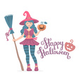 colorful halloween of witch character with b vector image vector image