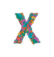 colorful ornamental alphabet letter x font vector image