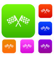 crossed chequered flags set collection vector image vector image
