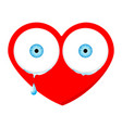 crying sad heart face with eyes and drop vector image