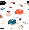 cute cartoon hedgehog apples and leaves vector image vector image