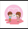 cute little couple with envelope message in hands vector image vector image