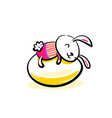 cute smiling easter bunny lying on egg happy vector image