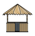 doodle straw hut nature architecture style vector image