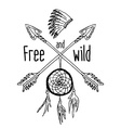 dream catcher and crossed arrows tribal legend in vector image vector image