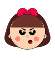 face little angry girl with short hair and cute vector image