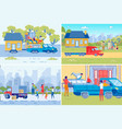family parents and children moving new house vector image